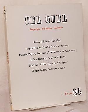 Tel Quel; review litteraire trimestrielle Linguistique / Psychanalyse / Litterature; Ete ...