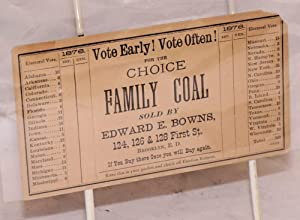Vote early! Vote often! for the Choice Family Coal sold by Edward E. Bowns. [advertising card with ...