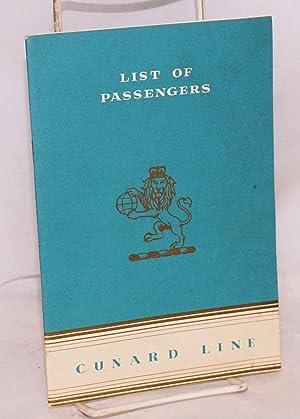 List of Passengers, R.M.S. Queen Elizabeth; Tourist