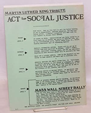 Martin Luther King tribute: Act for social justice [handbill]