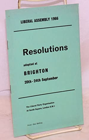 Resolutions adopted at Brighton 20th-24th September