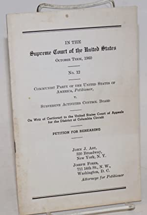 In the Supreme Court of the United States October term, 1960 no. 12: Communist Party of the United ...