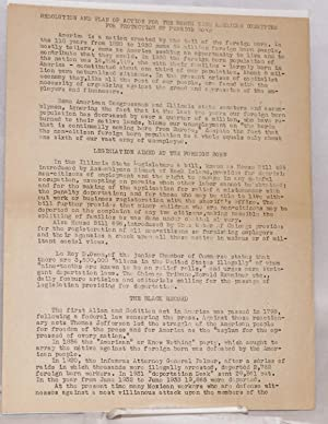 Resolution and Plan of Action for North Side American Committee for Protection of Foreign Born