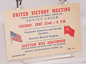 United Victory Meeting. Second anniversary of Hitler's attack on Soviet Union. Prominent ...