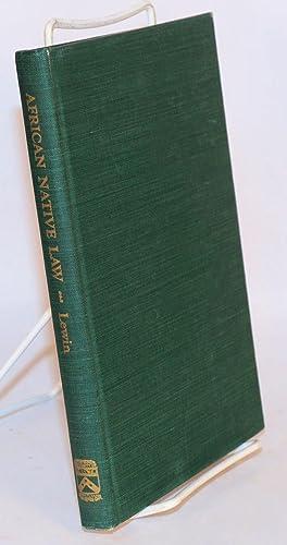 Studies in African native law: Lewin, Julius