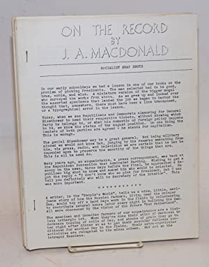 On the record [seventeen issues]: MacDonald, J.A.