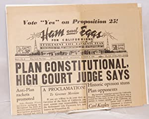 Ham and Eggs for Californians. Vol. 1 no. 2 (October 8, 1938): Retirement Life Payments Association...