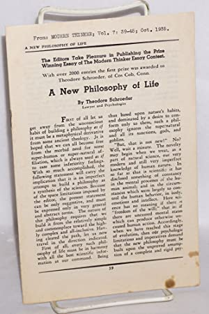 A new philosophy of life: Schroeder, Theodore