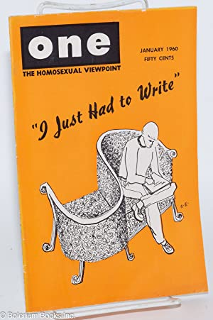One magazine; the homosexual viewpoint; volume eight, number 1, January 1960: Slater, Don, Lyn ...