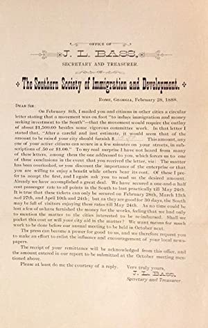 Fundraising circular]: Bass, J.L.; secretary and treasurer of the Southern Society of Immigration ...