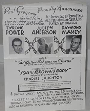 Paul Gregory proudly presents John Brown's Body adapted and directed by Charles Laughton [handbill]