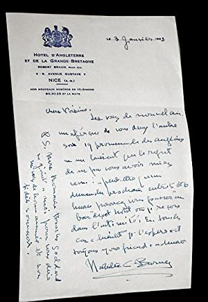 Two handwritten letters in French signed by Natalie Clifford Barney]: Barney, Natalie Clifford