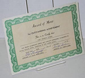 Award of merit for outstanding achievement [certificate]: Lady Johnnie Staggs, Emperor III Alex ...
