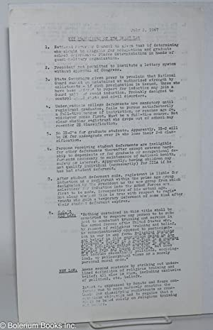 Key provisions of new draft law. July 1, 1967 [handbill]: Bogel, Bob