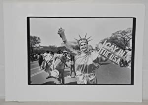Seven glossy b&w photographs of gay pride events: Impact Visuals, Jack Rosen, Linda Eber, Donna...