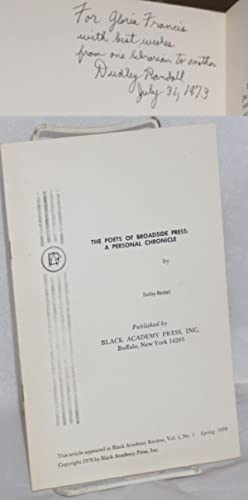 The poets of Broadside Press: a personal chronicle [this article appeared in Black Academy Review, ...