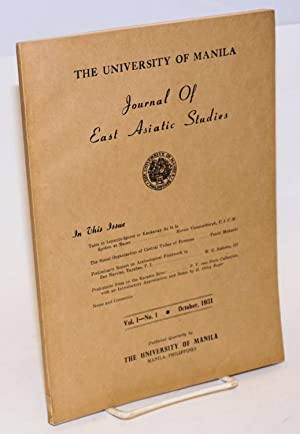 University of Manila Journal of East Asiatic Studies. Vol. 1 no. 1 (October 1951)