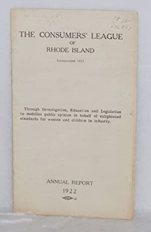 Annual report, 1922: Consumers' League of Rhode Island
