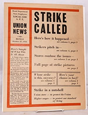 Strike called: Department Store Employees Union, Local 1100, AFL