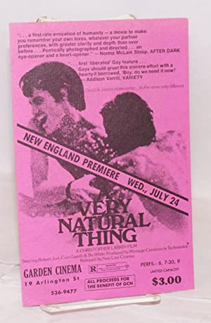 A Very Natural Thing: [promo card] a Christopher Larkin film, Garden Cinema, 19 Arlington St., Ne...