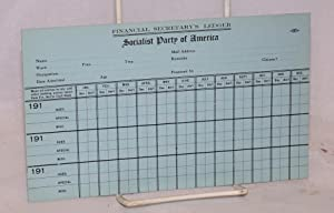 Financial secretary's ledger, Socialist Party of America