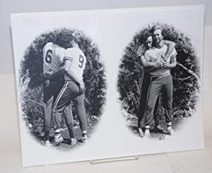 Photograph of gay male couple in Oil Can Harry sports clothing