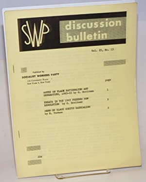 SWP discussion bulletin vol. 25, no. 15: Socialist Workers Party