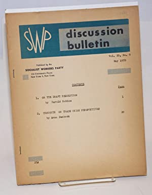 SWP discussion bulletin, vol. 20, no. 9 (May, 1959): Socialist Workers Party