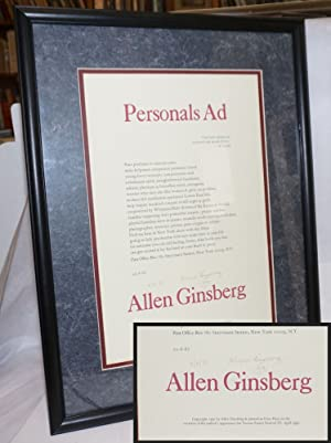 Personals Ad: signed, dated, matted and glass-framed broadside