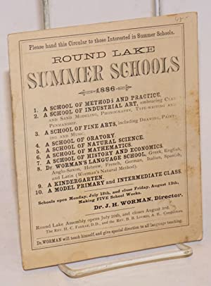 Please hand this Circular to those Interested in Summer Schools. Round Lake Summer Schools. 1886....