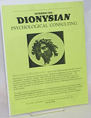 Introducing Dionysian Psychological Consulting [handbill]
