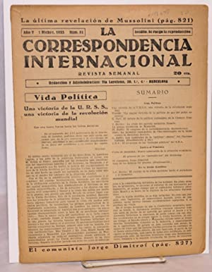 La correspondencia internacional; revista semanal, a?o V, num. 51 1 Dicbre. 1933