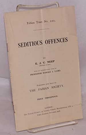 Seditious offences; wtih an introductory note by professor Harold J. Laski: Neep, E. J. C.