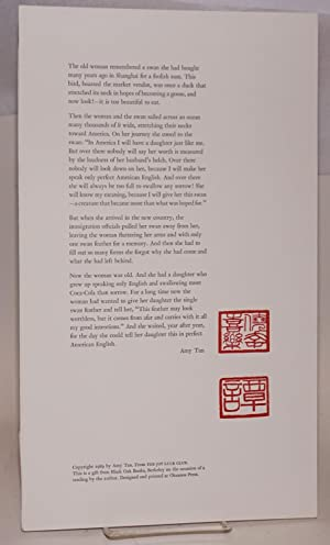 Excerpted passage from The Joy Luck Club; broadside