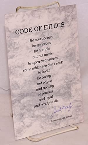 Code of ethics; signed broadside