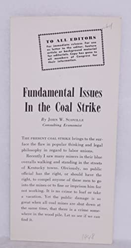 Fundamental issues in the coal strike: Scoville, John W.