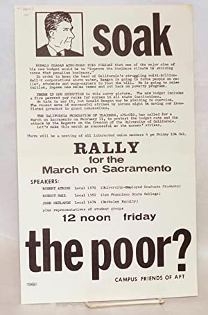 Soak the Poor? Rally for the March on Sacramento, 12 noon Friday: Campus Friends of AFT