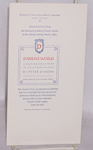 Announcing an exclusive exhibit at the library during March, 1962. Darien's World, a ...