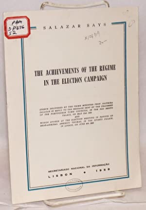 The achievements of the regime in the election campaign; speech delivered by the Prime Minister ...