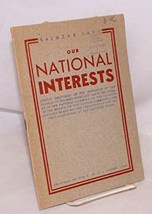 Our national interests, speech delivered by the president of the council on the 23rd. February 1946...