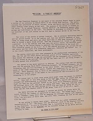 Mission: a Fascist America [handbill]