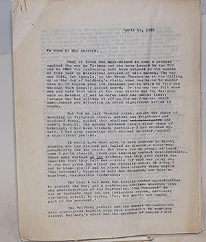 Letter regarding violent demonstrations at University of California at Berkeley 14 April 1966: ...