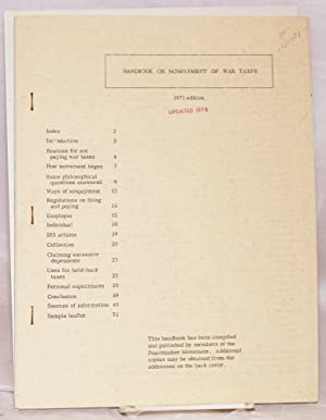 Handbook on nonpayment of war taxes. 1971 edition [Fourth edition]: Peacemaker Movement