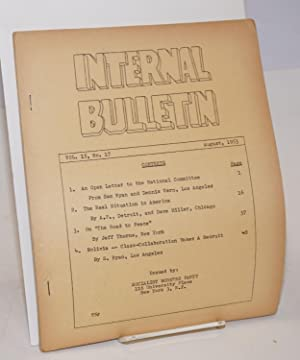 Internal bulletin, vol. 15, no. 17. August, 1953: Socialist Workers Party