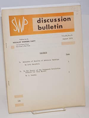 SWP discussion bulletin, vol. 20, no. 14. August, 1959: Socialist Workers Party