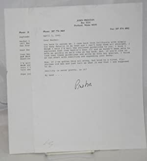 Two typed letters signed: Preston, John and Rachel Pepper