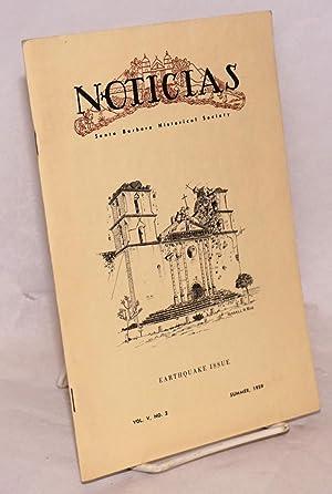 Noticias; quarterly bulletin of the Santa Barbara Historical Society, vol. v no. 2, Summer 1959: ...