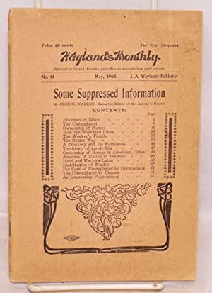 Freeman or slave? A book of suppressed information. Wayland's monthly, no. 61, May, 1905: ...