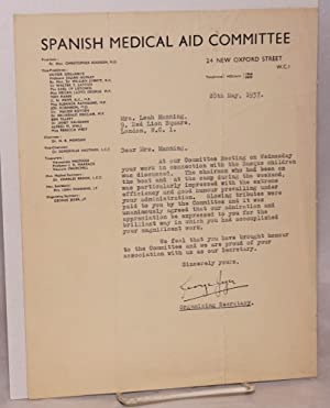 Tls from Organising Secretary George Jeger: Spanish Medical Aid Committee