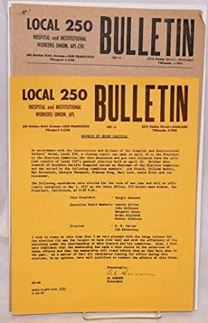 Local 250 Hospital and Institutional Workers Union, AFL Bulletin [four issues]